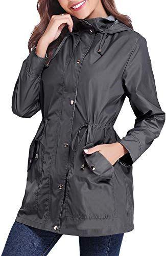 New iClosam Women Raincoats Waterproof Rain Jacket Lightweight Hood Lining Jacket Windbreaker online shopping
