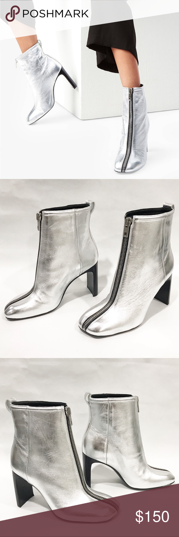 New rag & bone Ellis Front Zip Ankle Boots Silver NWOT rag & bone Ellis Front Zi…