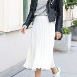New white metallic pleated midi length women skirt metalic autumn fall winter