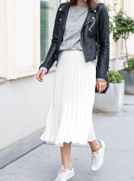 New white metallic pleated midi length women skirt metalic autumn fall winter