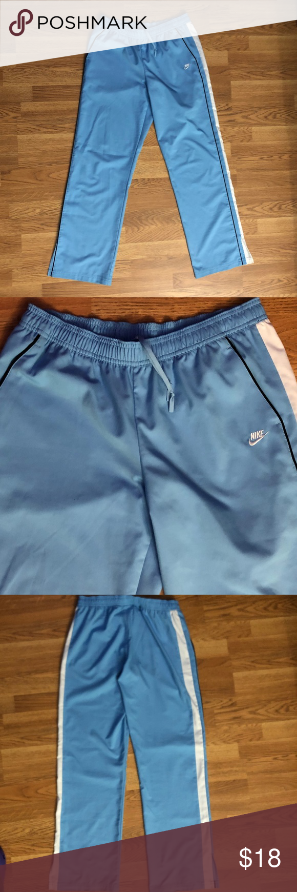 Nike Sz M Blue and White Track Pants *7S* Track Pants with Pockets from Nike GUC…
