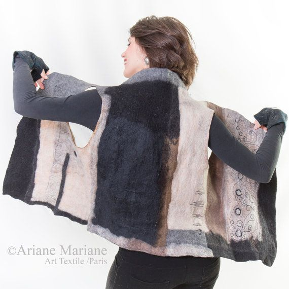 Nuno Felt Artist Vest, Merino Wool Women Vest, Wearable Art Garment Paris, Reversible Vest, Convertible Bolero, Fiber Art, Original Art