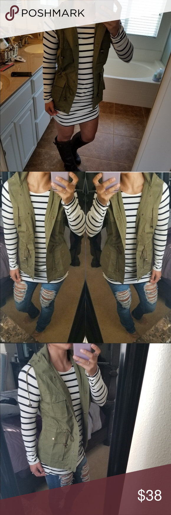 OLIVE ANORAK UTILTY VEST Give your outfit a flare of the military trend with thi…