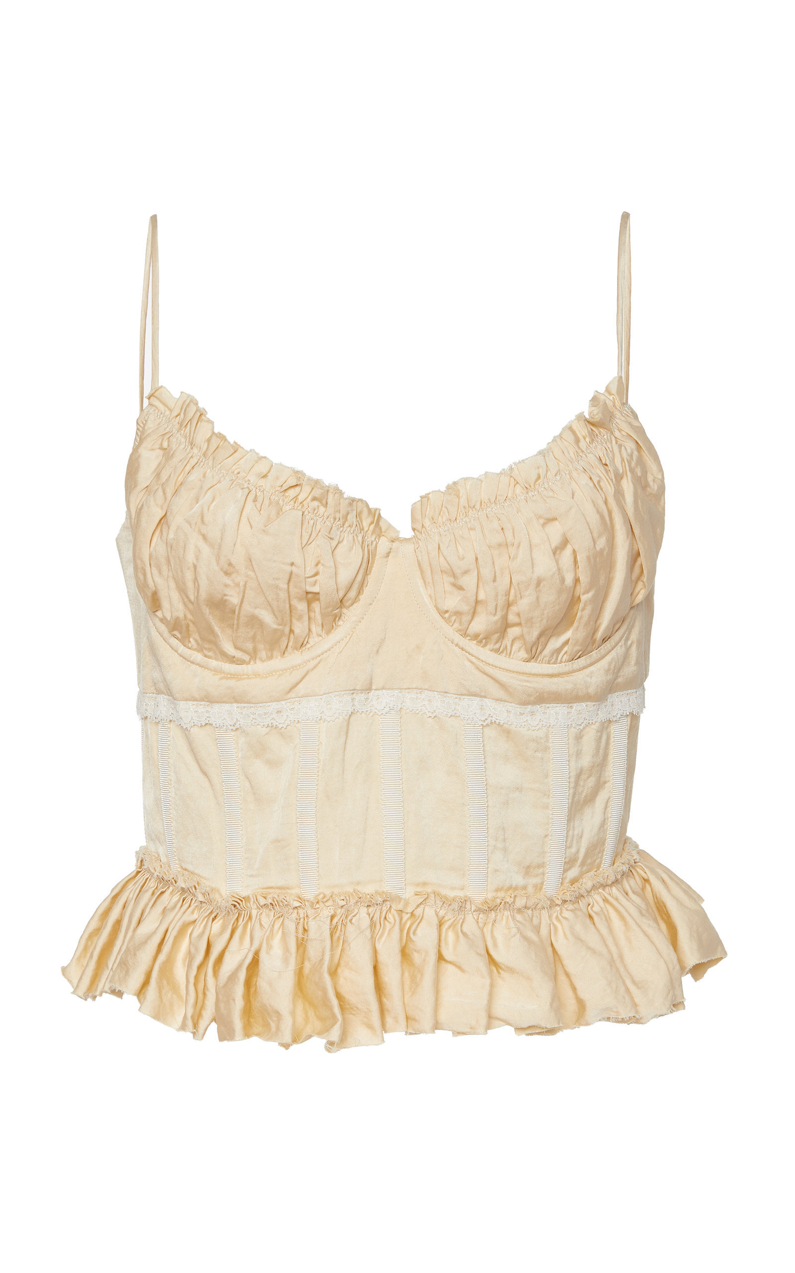 Oatmeal Ruched Taffeta Bustier Top