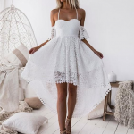 Off-Shoulder White Pleated Hollow Out Lace High Low Homecoming Dress ,Party dresses