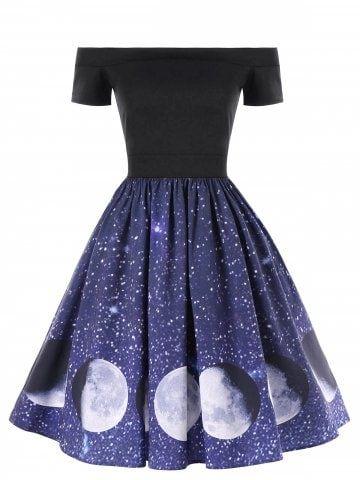 Off The Shoulder Galaxy Moon Print Dress