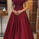 Off the Shoulder Appliqued Long Prom Dress School Dance Dress Fashion Winter Formal Dress