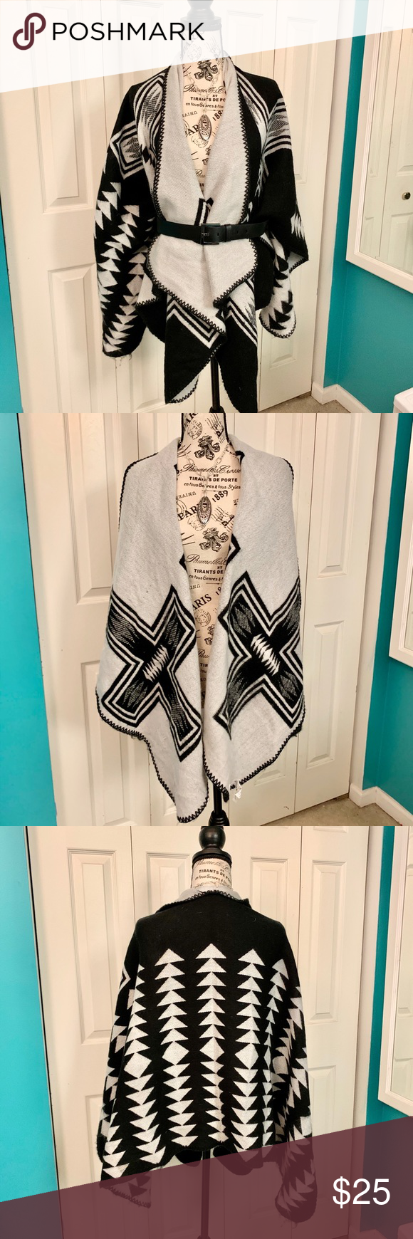Old Navy Black and White Aztec wrap Super soft and warm, this black and white wr…