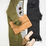 Olive green cardigan, black striped t-shirt, change to black skinny jeans, leopa...