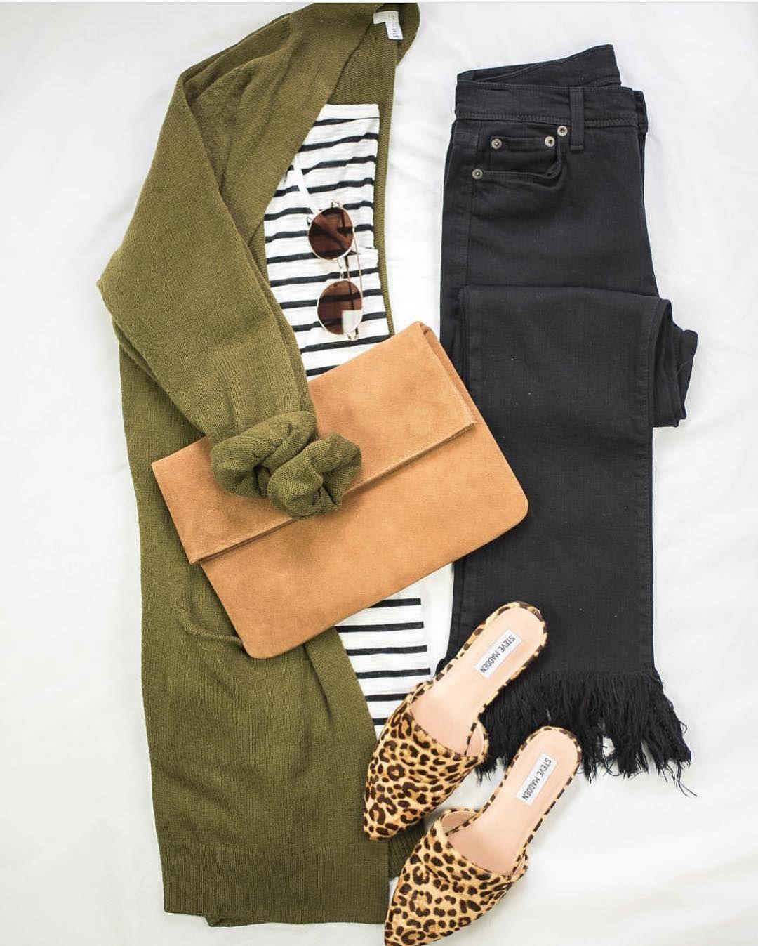 Olive green cardigan, black striped t-shirt, change to black skinny jeans, leopa…