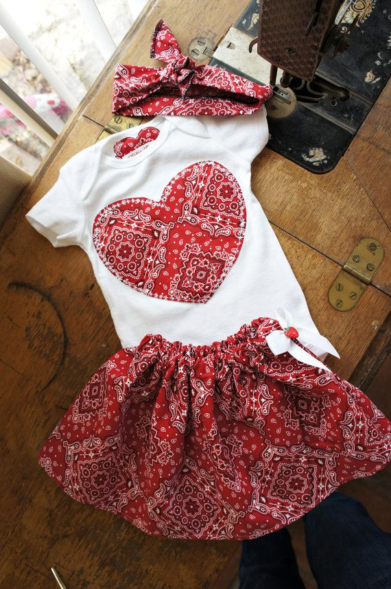 Olivia Paige – Cute Little pin up baby bandana outfit bodysuit with skirt bandana headband 3pcs