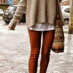 Opt for comfort in a tan knit oversized sweater and tobacco leggings. Let's make...