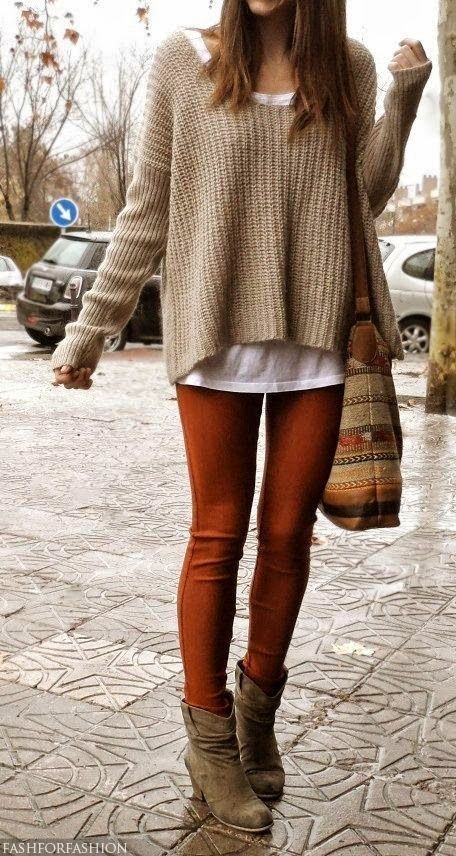 Opt for comfort in a tan knit oversized sweater and tobacco leggings. Let's make…