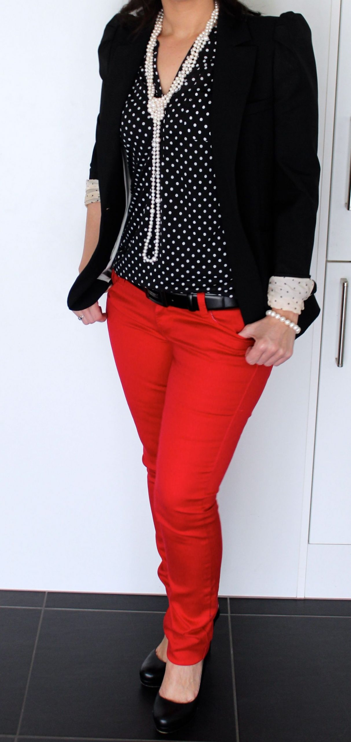 Outfit: Polka Dots & Red Pants