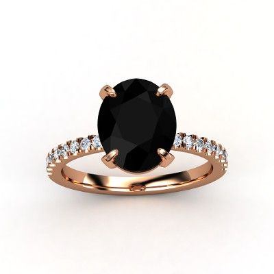 Oval-Cut Candace Ring (11mm gem) – Oval Black Onyx 14K Rose Gold Ring with Diamond