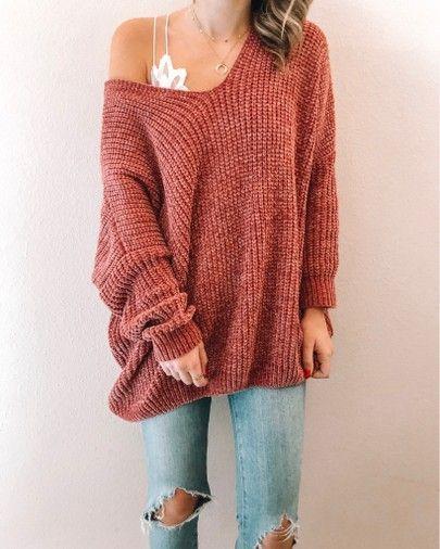 Oversized Slouchy V-Neck Chenille Sweater   Boohoo