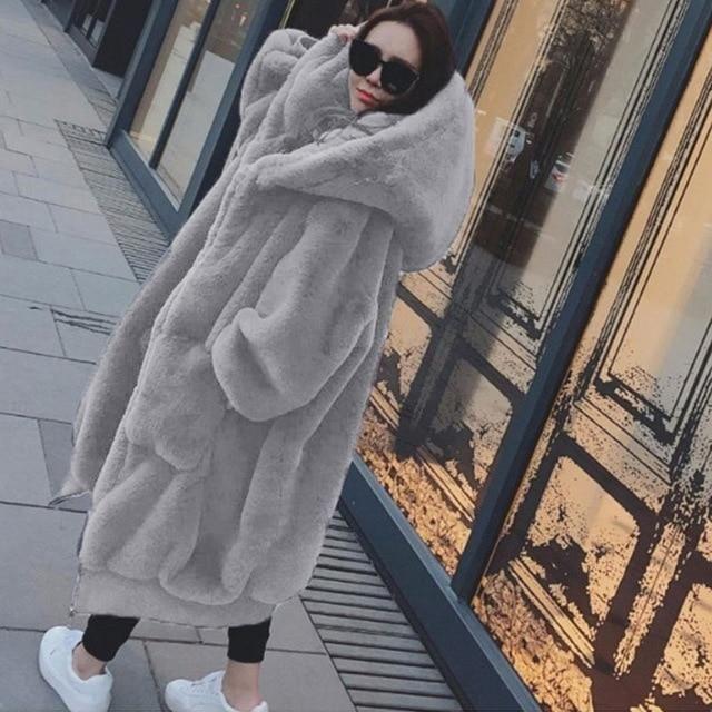 Oversized Winter Faux Fur Coat Women Parka Long Warm Faux Fur Jacket Coats Hoodies Loose Winter Coat Outwear casaco feminino – Blue S