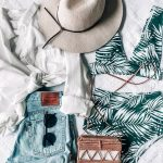 PALM BIKINI, tropical vacation outfit idea, summer, denim shorts, straw bag and ...