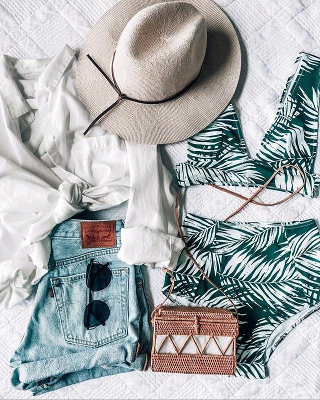 PALM BIKINI, tropical vacation outfit idea, summer, denim shorts, straw bag and …