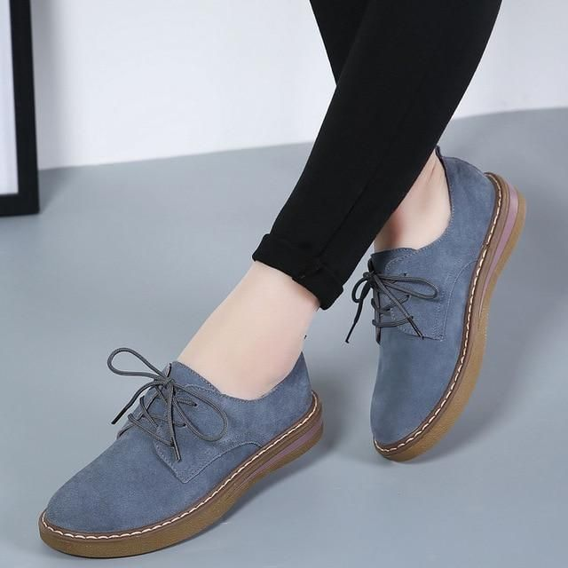 PINSEN 2017 Autumn Women Oxford #shoes Flats Shoes Women Leather Suede Lace up B…