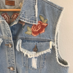 POL | Distressed Floral Embroidered Denim Vest POL Distressed Floral Embroidered...