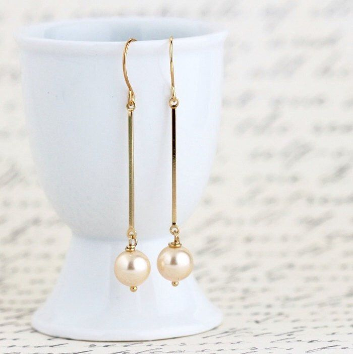 Pale Gold Pearl Dangle Earrings