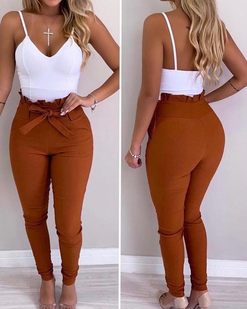 Pantalon décontracté à taille haute et ourlet volanté (S/M/L/XL) $27.99