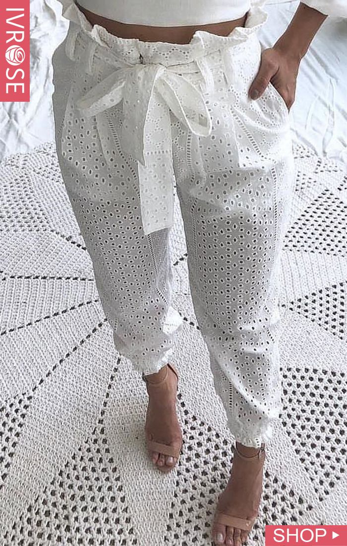 Paperbag Waist Eyelet Embroidery Casual Pants