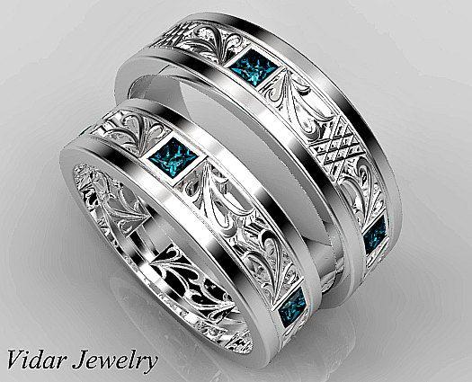 Passenden Ehering gesetzt, seine und ihre blaue Diamant Ehering Set, einzigartige passenden Ehering-Set Prinzessin blau Diamanten Hochzeit Band