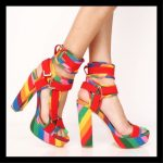 Pazzle Shoes | Red Rainbow Lycra Chunky Platform Heels | Color: Red | Size: Vari...
