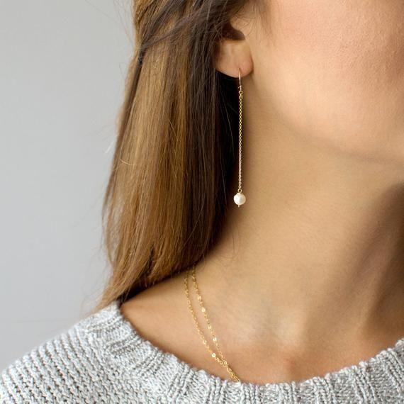 Pearl Chain Earrings, Long Dangle Earrings for Women, Dainty Earrings, Gift for Her, Bridal Earrings, 14k Gold Fill, Sterling Silver, E208