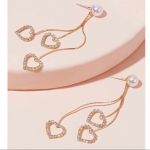 Pearl rhinestone dangle heart earrings Simulated Pearl rhinestone engraved dangl...