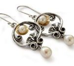 Pearl wedding earrings chandelier earrings Inspirational gift Silver and Gold ea...