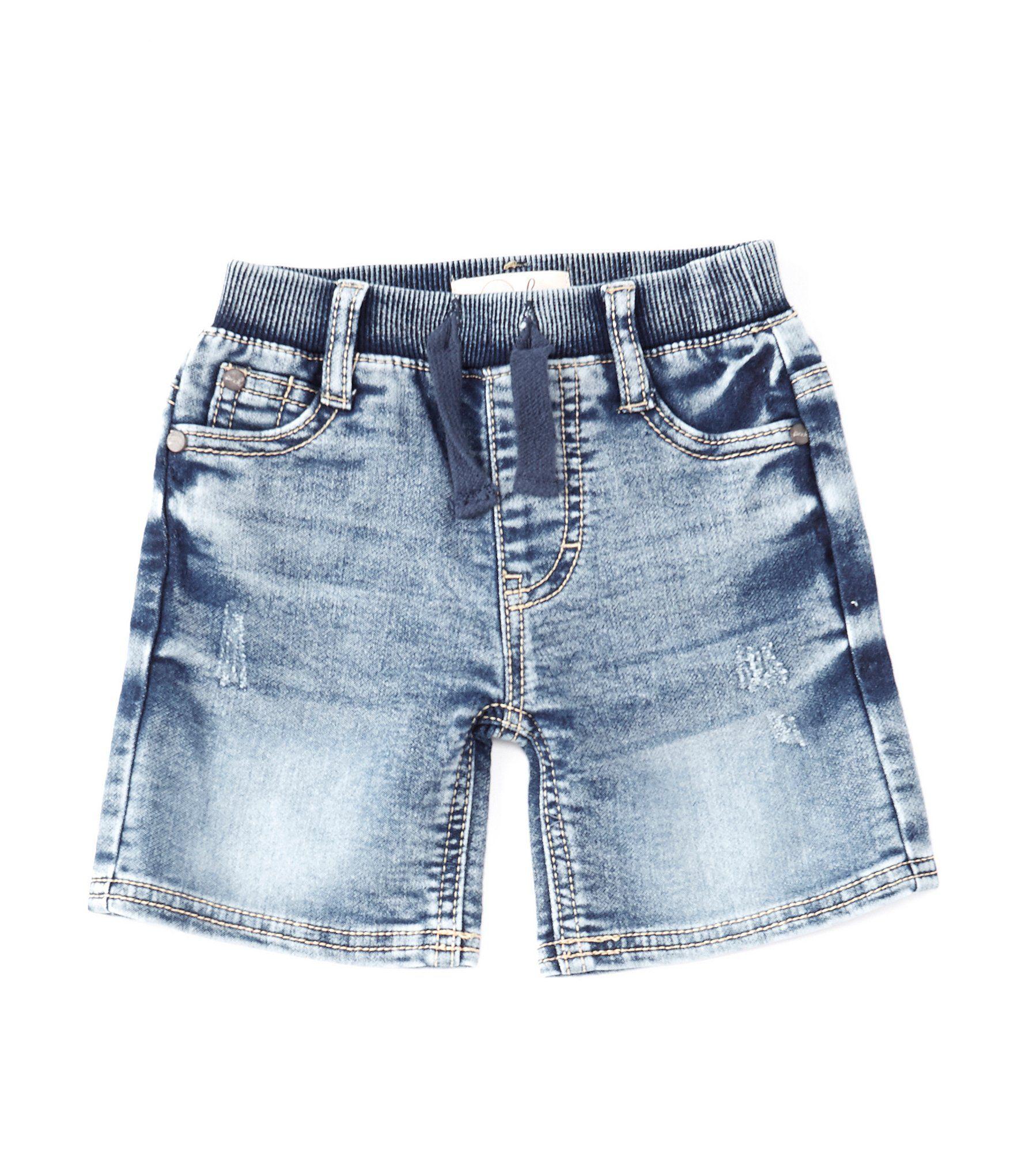 Peek LittleBig Boys 2T-12 Robert Knit-Denim Shorts – Dark Stone 12