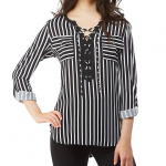 Peter Nygard Striped Lace Up Split V-Neck Roll-Tab Sleeve Blouse
