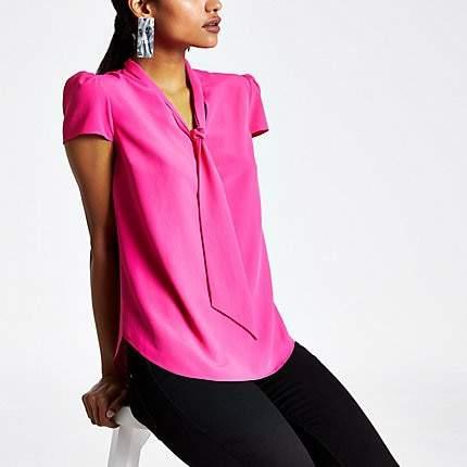 Petite pink tie neck blouse