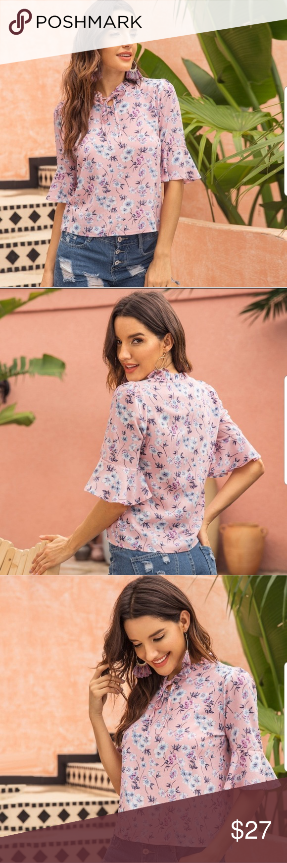 Pink Bell Sleeve Floral Tie Neck Blouse This feminine top is quite adorable. Asi…