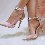 Pink Rhinestone Glitter Ankle Strap Pumps