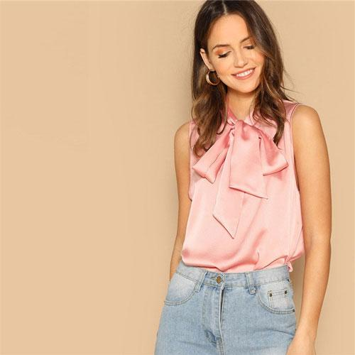 Pink Tie Neck Sleeveless Workwear Satin Blouses 2019 Spring Women Tops Blouses Bow Stand Neck Blouse Pink L