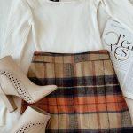 Plaid Beige Plaid Mini Skirt