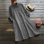 Plaid Button Long Sleeve Pocket Shirt Dress PU27