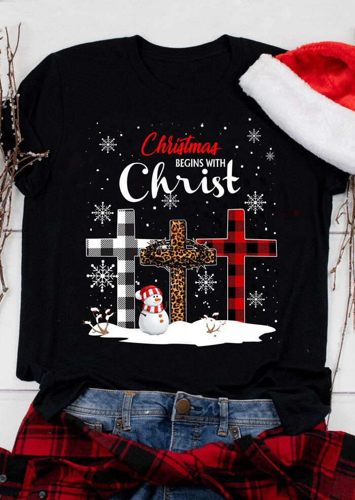 Plaid Leopard Printed Christmas Begins With Christ T-Shirt