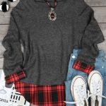 Plaid Splicing O-Neck Long Sleeve Sweater