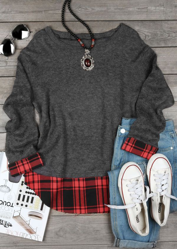 Plaid Splicing O-Neck Long Sleeve Sweater
