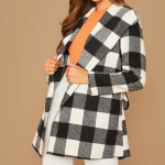 Plaid buffalo checkered jacket wrap coat Plaid buffalo checkered women's black...
