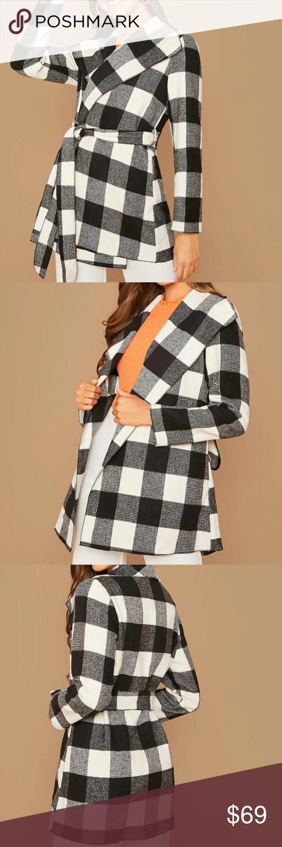 Plaid buffalo checkered jacket wrap coat Plaid buffalo checkered women's black…
