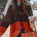 Plus Size Casual Color-Block Sweater
