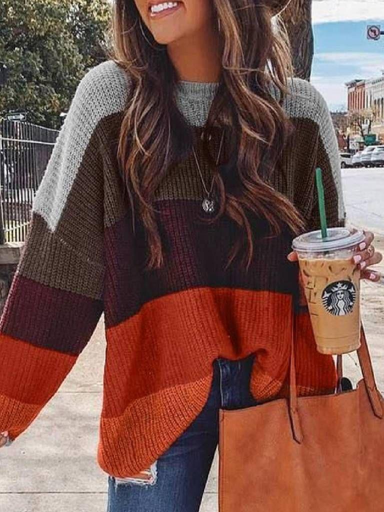 Plus Size Casual Color-Block Sweater