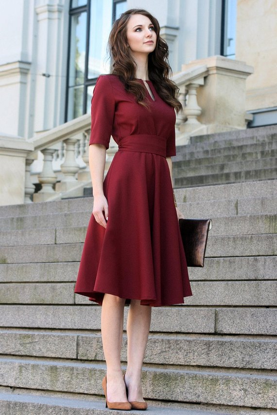 Plus Size Dress, Cocktail Dress, Womens Dress, Red Dress, Burgundy Dress, Rust, Women Dress, Knee Length, Short Sleeve Dress, 1950's Dress