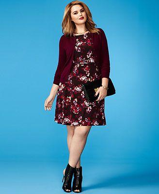 Plus Size Fall Fashion Trend Report Dark Florals Printed Dress & Cardigan Look